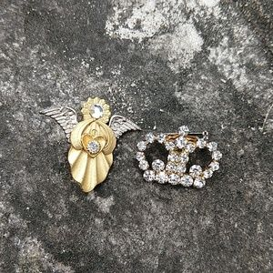 Jewelry - 3/$15 Crown and angel brooches